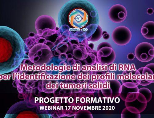 Progetto formativo ECM gratuito – Metodologie di analisi di RNA per l'identificazione dei profili molecolari dei tumori solidi 17 novembre